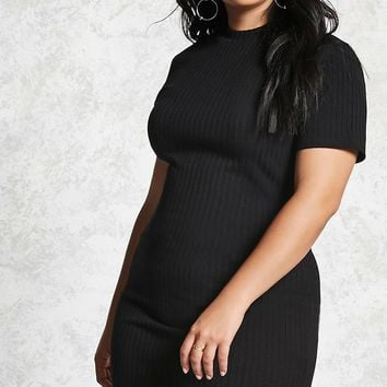 Plus Size Ribbed Mini Dress