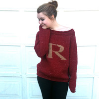 Sweater with Letter -Red and Gold - Knitted - Monogram - Pullover -  Weasley Jumper - Made to Order