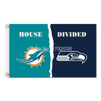Miami Dolphins Flag Vs Seattle Team Champions Fan Banners World Series Flying 3ft X 5ft Miami Dolphins Banner 100D Polyester