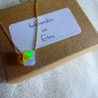 Rough Opal Pendant & 925 Sterling Silver or 14k Gold Fill Chain Necklace