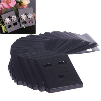 free shipping 100pcs Professional Plastic Earring Ear Studs Holder Display Hang Cards Black Drop Shipping  #FZ0043