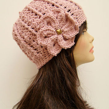 FREE SHIPPING - Crochet Spiral Flower Fitted Hat - Rose Pink with Bronze Stud