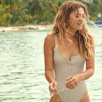 Aerie Henley One Piece Swimsuit, Tan