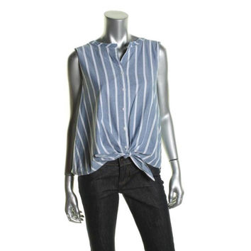 C & C California Womens Chambray Button-Down Casual Top