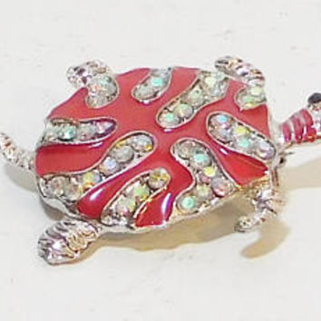 Turtle Brooch, Rhinestones, Red Shell, Red Turtle Brooch, Rhinestone Brooch, Rhinestone Turtle, Vintage Costume Jewelry