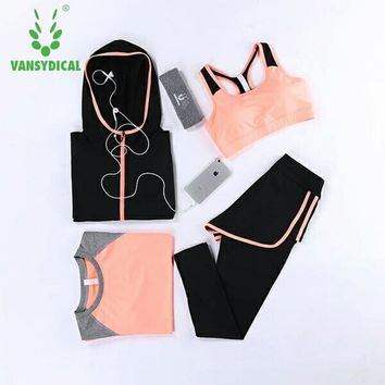 Vansydical Gym Yoga Sets Women's Sportswear Running Tights Womens Fitness Training Jogging Sport Suit Yoga Clothes