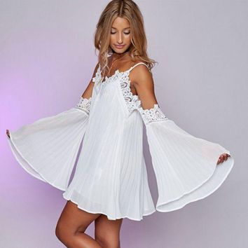 DCCKVQ8 V-Neck Solid Color Lace Stitching Strapless Long Sleeve Strap Mini Dress