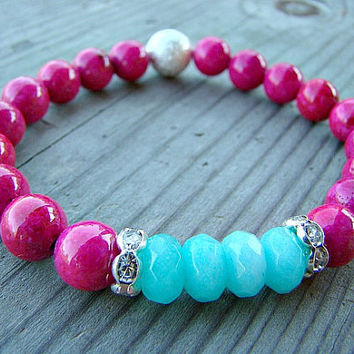 Pink Beaded Bracelet, Silver Stardust, Hot Pink Mountain Jade, Aqua Jade, Clear Crystal, Rhinestone, Stretch Bracelet, Beaded Jewelry