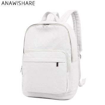 ANAWISHARE Women Canvas Backpacks White School Bags For Teenagers Girls Casual Rucksack Shouder Bags Large Travel Bags Wm8952