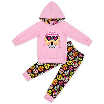 long sleeve outfits baby girls hoodie clothing girls skull outfits heart clothing children boutique sets