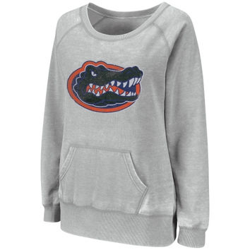 Florida Gators Ladies Shaka Wideneck Burnout Hoodie - Ash