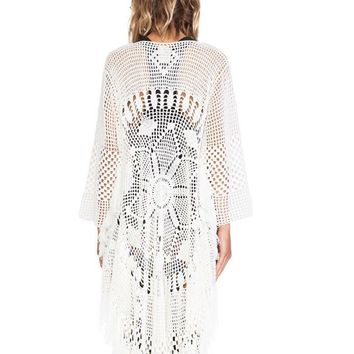 Free People Mandala Kimono White Bohemian Thick Sweater Button Front Tassel Fringe Sleeves One Size Fits Small Medium And Large