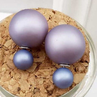 High quality and high bright pearl double side stud earrings for women plated silver earpins