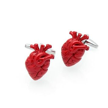 Red Anatomical Heart Cuff Links