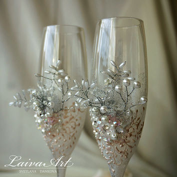 Wedding Champagne Flutes Wedding Champagne Glasses White Wedding Decoration