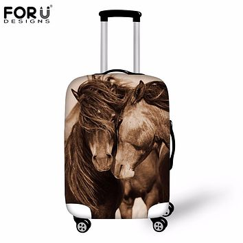 FORUDESIGNS Vintage Elastic Luggage Cover Protect Suitcase Covers S/M/L 3D Horse Animal Travel Covers For 18-30 Inch Trunk Case
