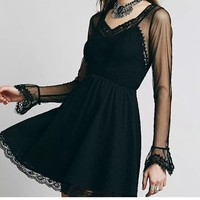 💋Free people long sleeves mini black dress *NEW*