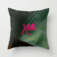 Hello Throw Pillow by 83oranges.com