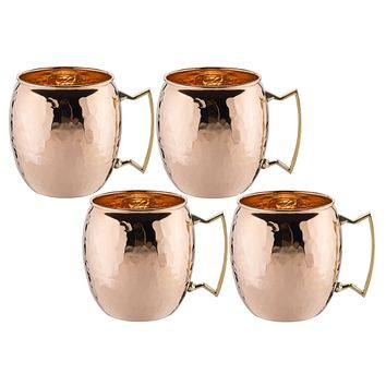 Hammered Solid Copper Moscow Mule Mugs Set of 4 16 oz
