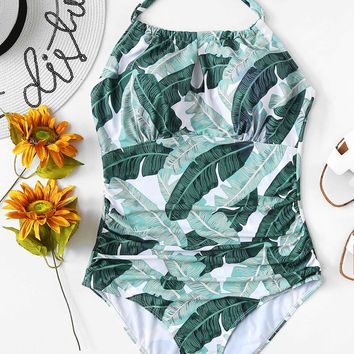 Plus Jungle Print Ruched One Piece Swimsuit