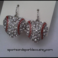 "Rhinestone Heart 1"" Baseball Charm Shepherd Hook Earrings ""I LOVE BASEBALL"""
