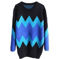 New Women Fashion Vintage Zigzag Pullover Sweater Lady Ripple Knitwear Outerwear, Small, Black