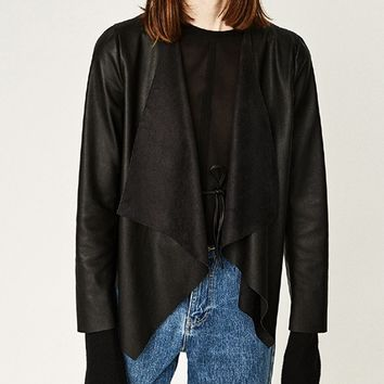 Black Leather Look Waterfall Front Long Sleeve Jacket