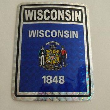 "Wisconsin Flag Reflective Sticker 3""x4"" Inches Adhesive Car Bumper Decal"