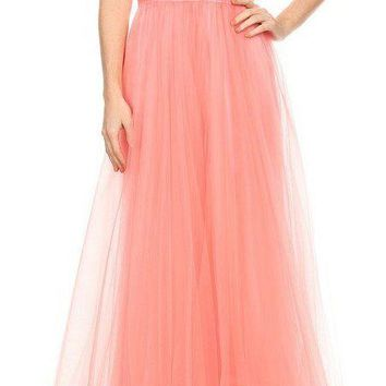 Pink Plunging Neck Long Prom Dress Cut-Out Back