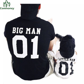 Family Matching Outfits BIG MAN LITTLE MAN Father And Son Clothes Black T Shirt Summer Tops Short Sleeve Family Look Comhoney