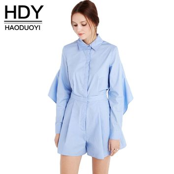 Chic New Fashion Women Casual Back Asymmetrical Soft Sexy Romper Autumn Blue Backless Basic