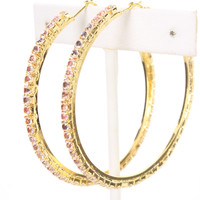 Gold Rhinestone High Polish Metal Hoop Earrings