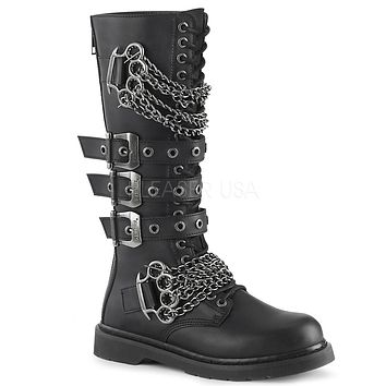 Bolt 450 Goth Buckle Strap Combat Biker Knee Boots Black Matte Men Sizes 4-14
