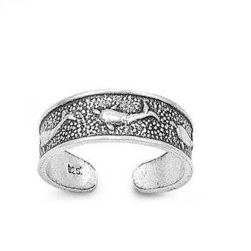 Sterling Silver Dolphins 5MM  Toe Ring/ Knuckle/ Mid-Finger