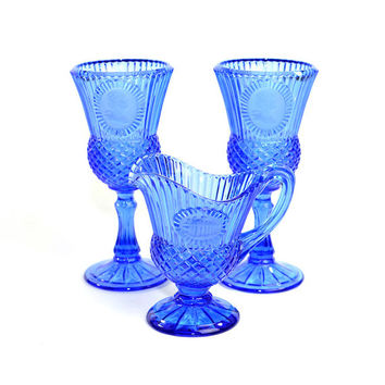Cobalt Blue Fostoria Glass Goblets & Pedestal Creamer Pitcher Set - Avon Bicentennial Celebration, Washington Portrait Cameo - Vintage Decor