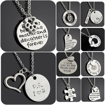 I Love You Heart Family Footprint Paw Grandma Sister Silver Charm Pendant Necklace Lover Women Men Chain Necklaces Jewelry Gifts