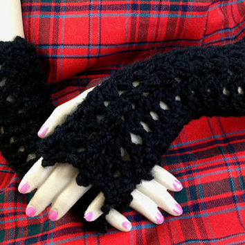 Claire Outlander Fingerless Gloves Wristwarmers Black Lace Lacy Mitts Cuffs Steampunk Goth Victorian Texting Diana Gabaldon FREE SHIPPING