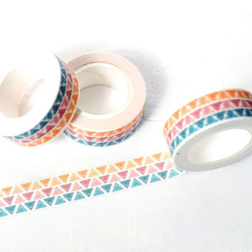 Tri Color Triangle Washi Tape. 15mm x 10m. Tribal Washi Tape. Boho Washi Tape. Simple Washi Tape. Simple Geometric Washi Tape.