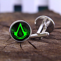 Cufflinks,Assassins creed Cufflinks ,silvery cufflinks ,wedding cufflinks,bride&bridemen gift,mens cufflink