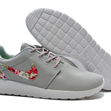 Nike Roshe Run Shoes Floral Running Shoes Gray - Ready Stock Online