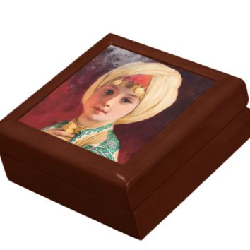 Keepsake/Jewelry Box - Carl Haag Child with Turban - Lacquer Box