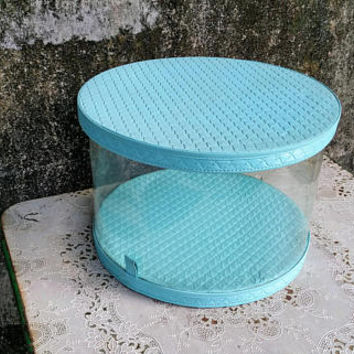 Vintage Protex Turquoise Quilted Vinyl Hat Box