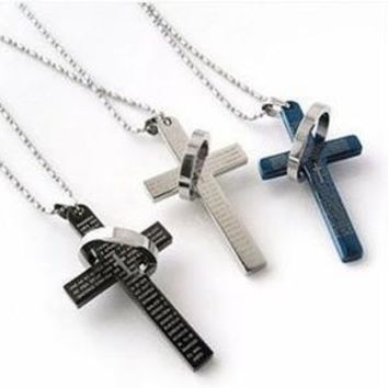 The bible cross ring ring necklace, titanium steel men's stainless steel necklace, cross necklace man lovers necklace(With Thanksgiving&Christmas Gift Box) [8824510471]
