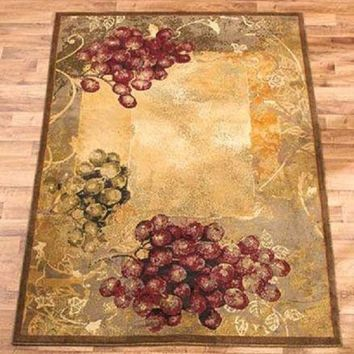 "Area Rug Grapes Grapevine Rustic Tuscan Country Vineyard Home Decor 63"" x 86"""