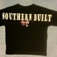 Southern Built Long Sleeve Toddler and Youth  Tshirt 2 Sided with Pocket Design on Front