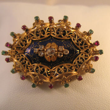 Vintage 18k Gold Blue Enameled Brooch with Diamonds Emeralds and Rubies - Perfect Gift for Her