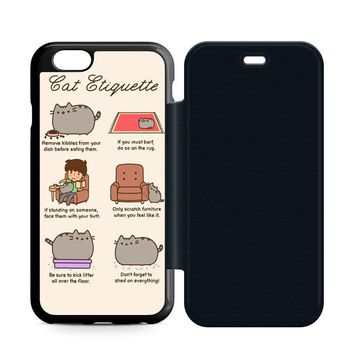 Pusheen Cat Eat Etiquette Leather Wallet Flip Case iPhone 6 | 6S