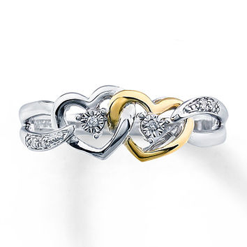Diamond Promise Ring Sterling Silver/10K Gold