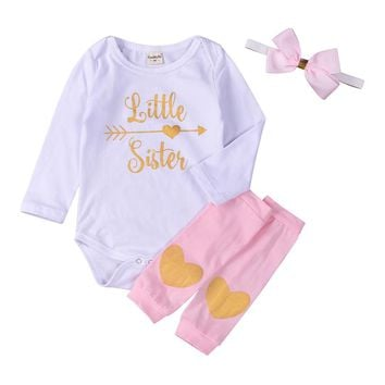 "3-18M ""Little Sister"" Long-sleeve Onesuit + Leg Warmers & Headband"