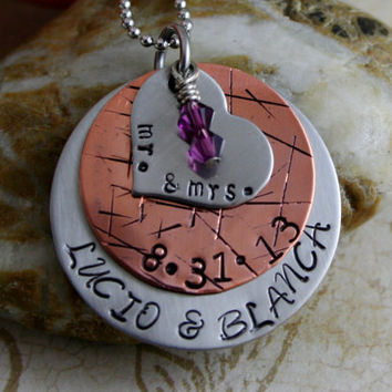 "Hand Stamped Personalized Customized Stainless Steel and Copper ""Engagement"" Necklace"